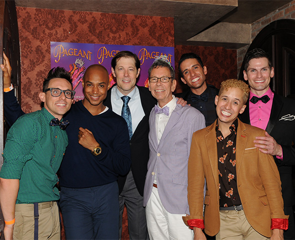The cast of Pageant snaps a photo with co-author Bill Russell.