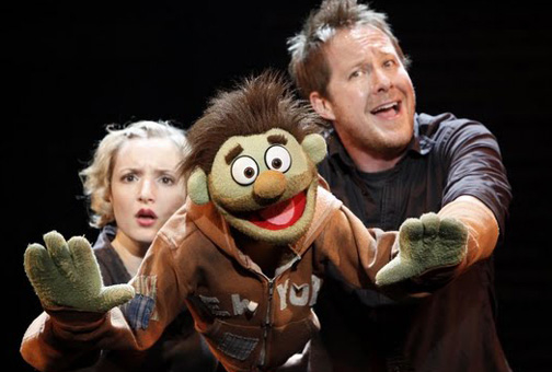 Maggie Lakis, Nicky, and Cullen R. Titmus in a scene from Avenue Q.