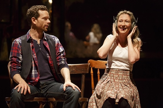 Paul Alexander Nolan as Guy and Jessie Fisher as Girl in Once, directed by John Tiffany, at Broadway's Bernard B. Jacobs Theatre.  Paul Nolan Jessie Fisher