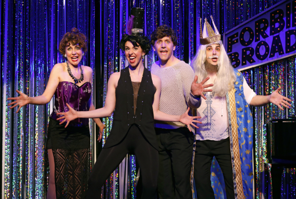 Carter Calvert, Mia Gentile, Scott Richard Foster, and Marcus Stevens in a scene from Gerard Alessandrini's Forbidden Broadway Comes Out Swinging!