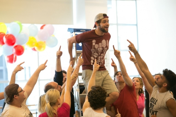 Jeremy Jordan and the cast of Finding Neverland in rehearsal at the American Repertory Theater.