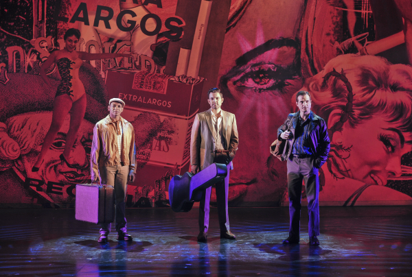 Derrick Baskin, Zak Resnick, and Bryan Fenkart arrive in Havana in Piece of My Heart: The Bert Berns Story, directed by Denis Jones, at the Pershing Square Signature Center.
