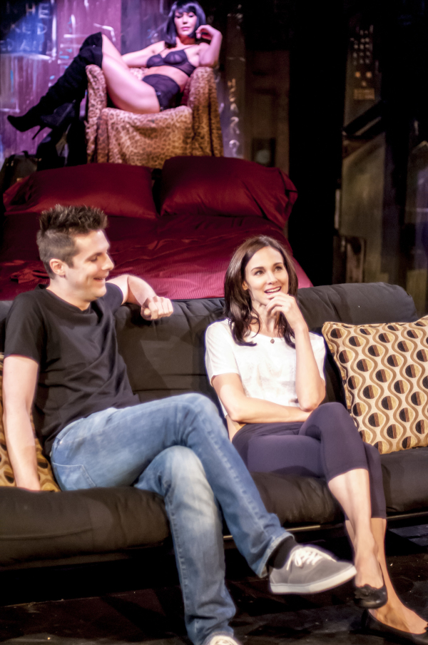 Zach McCoy as David, Kerri Lynn Miller as Candy, and Frances Brennand Roper (background) as Benita in Jennifer Rudolph's production of Brad Fraser's Love and Human Remains, directed by Clyde Baldo, at the Peter Jay Sharp Theater at Playwrights Horizons.