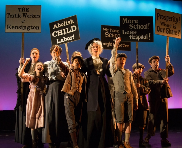 Lynne Wintersteller (center) and the cast of Cheryl E. Kemeny's Mother Jones and the Children's Crusade, directed by Michelle Tattenbaum, at the PTC Performance Space.