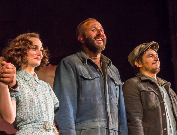 Leighton Meester, Chris O'Dowd, and James Franco take their bow in Of Mice and Men.
