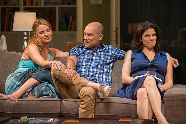 Kate Arrington as Teri, Greg Stuhr as Chris, and Diane Davis as Kristy in the world premiere of Bruce Norris' The Qualms, directed by Pam MacKinnon, at Steppenwolf Theatre Company.