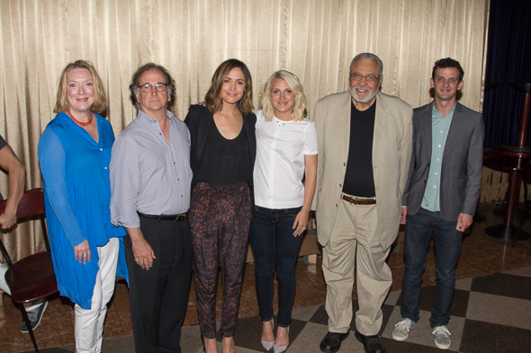 Kristine Nielsen, Mark Linn-Baker, Rose Bryne, Annaleigh Ashford, James Earl Jones, and Will Brill pose for the camera.