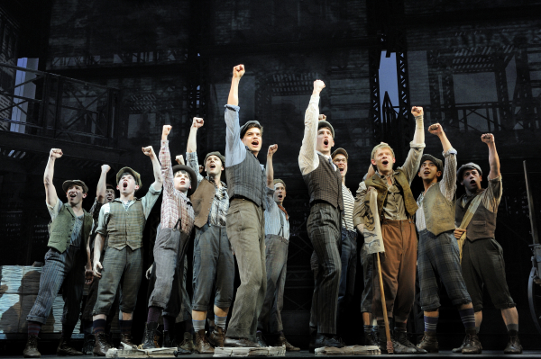 The original Broadway cast of Newsies onstage at the Nederlander Theatre.