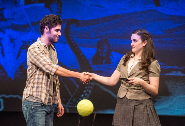 Perry Sherman as Peter and Alison Novelli as Jacqui in WikiMusical, directed by Richard J. Hines, at the PTC Performance Space as part of the 2014 New York Musical Theatre Festival.