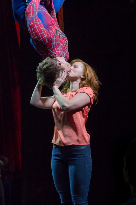 Justin Matthew Sargent and Rebecca Faulkenberry in Spider-Man Turn Off the Dark on Broadway.