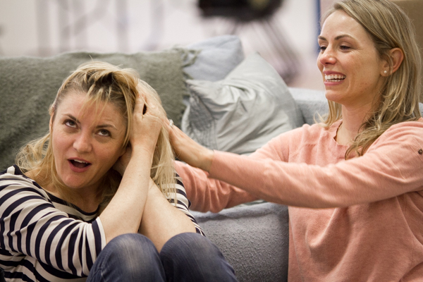 Lara Phillips and Brenda Barrie in rehearsal for Okay, Bye, written by Joshua Conkel and directed by Margot Bordelon.