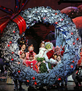 A scene from Dr. Seuss' How the Grinch Stole Christmas! on Broadway.