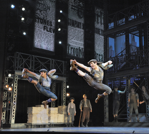 Aaron J. Albano and Jess LeProtto in a scene from Newsies.