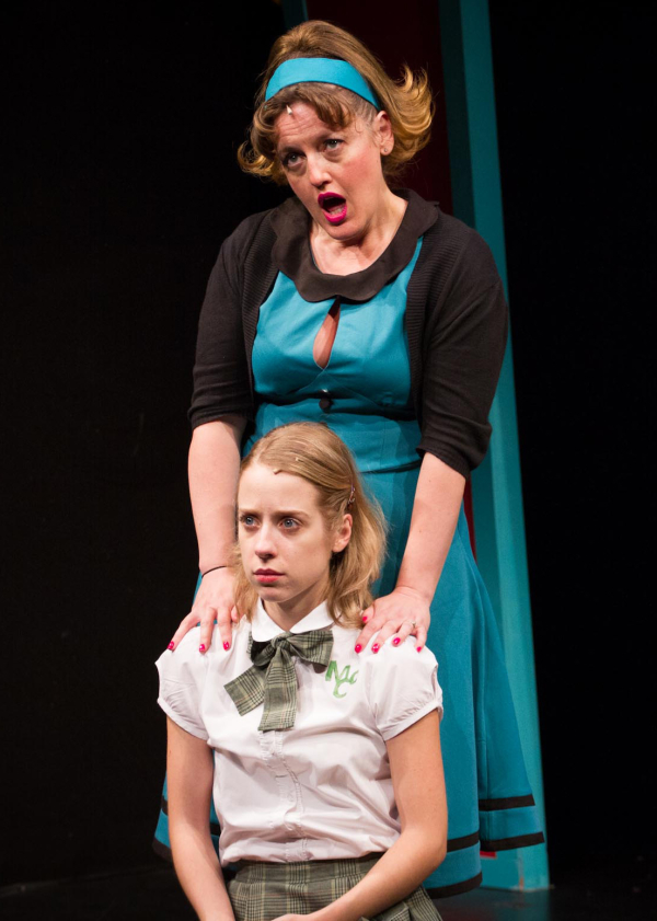Jennifer Simard (top) as Chrystal McCutter and Alyse Alan Louis  as Maggie McCutter in Academia Nuts.