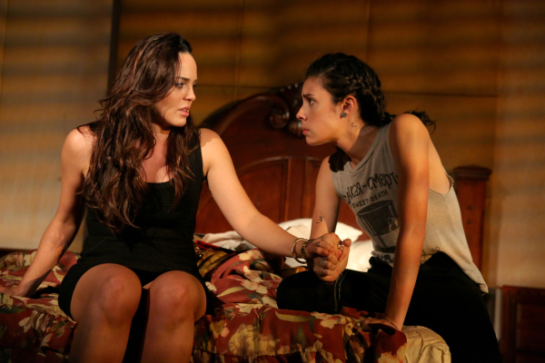 Marta Milans as Liliana with Roberta Colindrez as  Maritza in Tanya Saracho's Mala Hierba, directed by Jerry Ruiz, as part of Second Stage Theatre's uptown series.