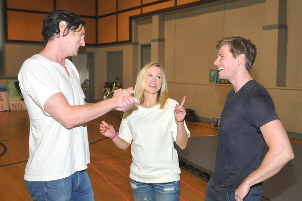 Bell, flanked by her Hair costars Benjamin Walker (Berger) and Hunter Parrish (Claude).