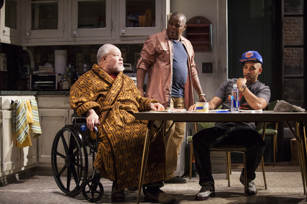 Stephen McKinley Henderson, Ray Anthony Thomas, and Victor Almanzar star in Stephen Adly Guirgis' Between Riverside and Crazy, directed by Austin Pendleton, at Atlantic Theater Company.