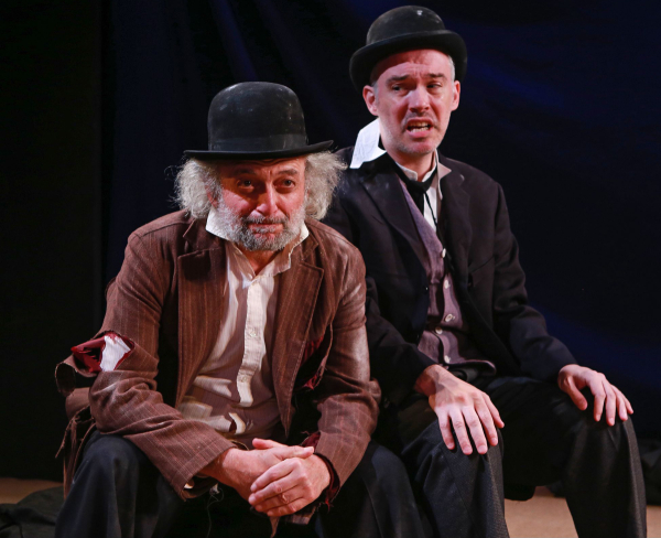 David Mandelbaum as Estragon and Shane Baker as Vladimir in the New Yiddish Rep production of Waiting for Godot.