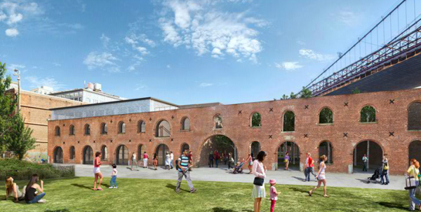 An image of the Tobacco Warehouse in Brooklyn Bridge Park where St. Ann's will take up residency in the fall of 2015.