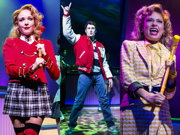Jessica Keenan Wynn, Jon Eidson, and Elle McLemore play three of the popular kids of Westerburg High in Kevin Murphy & Laurence O'Keefe's Heathers: The Musical, directed by Andy Fickman, at New World Stages.