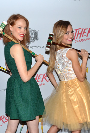 Jessica Keenan Wynn and Elle McLemore pose with their croquet mallets at the opening night of Heathers: The Musical.