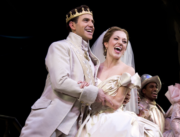 "Santino Fontana and Laura Osnes take there bows on opening night of Broadway's '""Cinderella''."