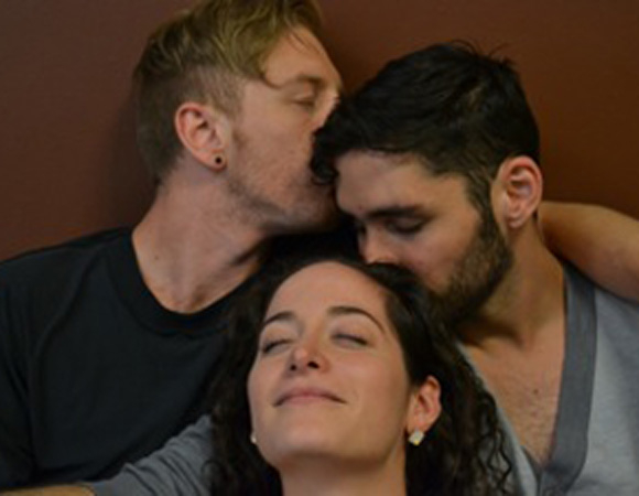 Mike Mizwicki, Courtney Alana Ward, and Andrew Rincón in David L. Kimple's MMF at FringeNYC.