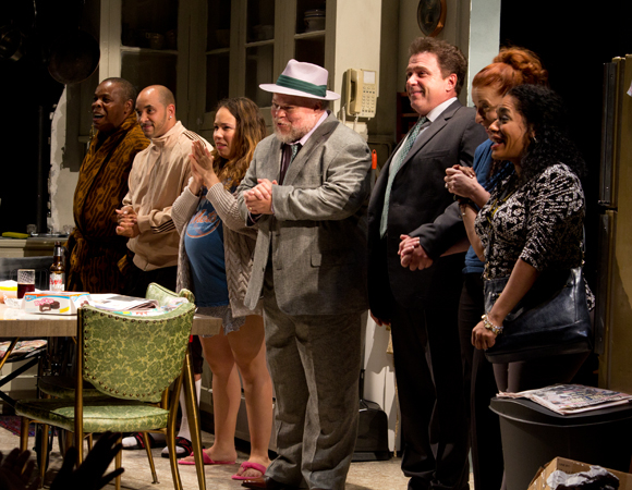 The cast of Between Riverside and Crazy takes a bow on opening night.