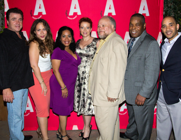 Cast members Michael Rispoli, Rosal Colón, Liza Colón-Zayas, Elizabeth Canavan, Stephen McKinley Henderson, Ray Anthony Thomas, and Victor Almanzar gather at the opening-night party.
