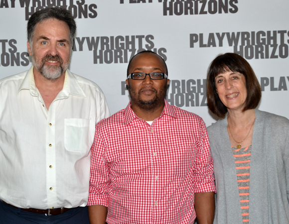 Bootycandy playwright/director Robert O'Hara (center) with Playwrights Horizons Artistic Director Tim Sanford (left) and Managing Director Leslie Marcus (right).