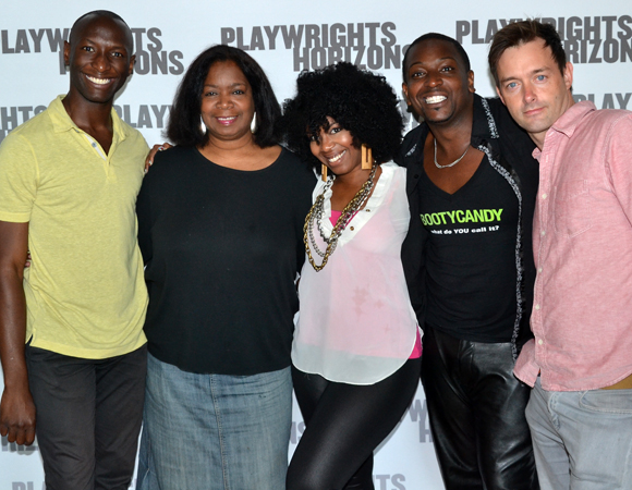 The cast of Bootycandy: Phillip James Brannon, Benja Kay Thomas, Jessica Frances Dukes, Lance Coadie Williams, and Jesse Pennington.
