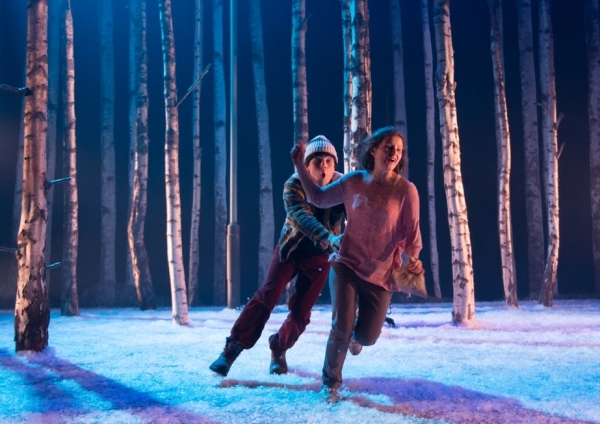 Martin Quinn as Oskar and Rebecca Benson as Eli in John Tiffany's stage production of John Ajvide Lindqvist's Let the Right One In at the Apollo Theatre.