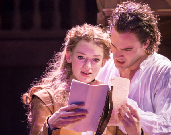 Lucy Briggs-Owen as Viola and Tom Bateman as Will Shakespeare in Lee Hall's stage adaptation of Shakespeare in Love, directed by Declan Donnelan, at the Noël Coward Theatre.