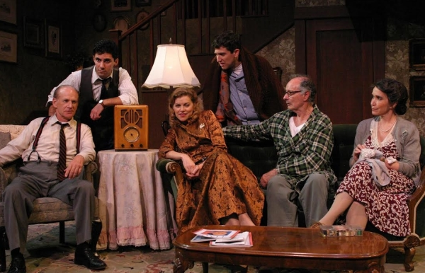 The full company of Jason Alexander's production of Broadway Bound, written by Neil Simon, at the Odyssey Theatre Ensemble.