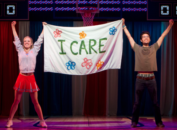 Patti Murin and Jason Tam in the Broadway production of Lysistrata Jones at the Walter Kerr Theatre.