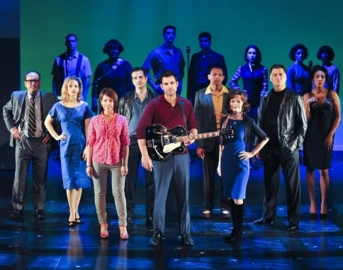Zak Resnick (center) and the cast of Piece of My Heart: The Bert Berns Story at the Pershing Square Signature Center.