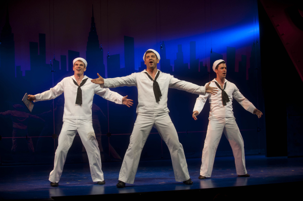 Jay Armstrong Johnson, Tony Yazbeck, and Clyde Alves as the three sailors in the Barrington Stage production of On the Town, coming to Broadway this fall.