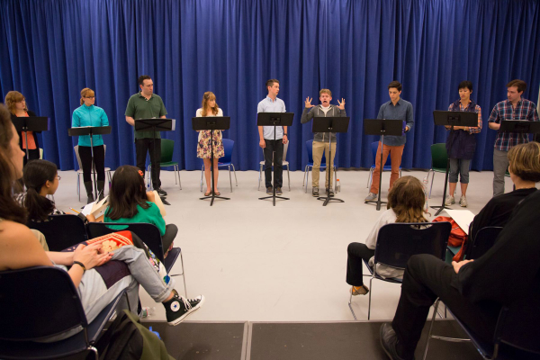 The full cast of The Civilians' reading of The Abominables on August 2 at The New 42nd Street Studios.
