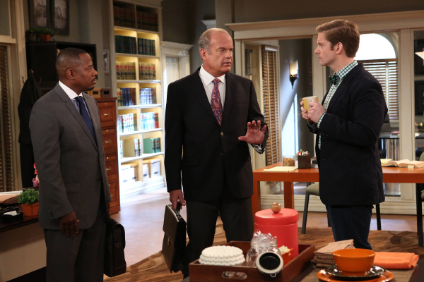 Martin Lawrence as Marcus Jackson, Kelsey Grammer as Allen Braddock, and Rory O'Malley as Michael on the FX series Partners.