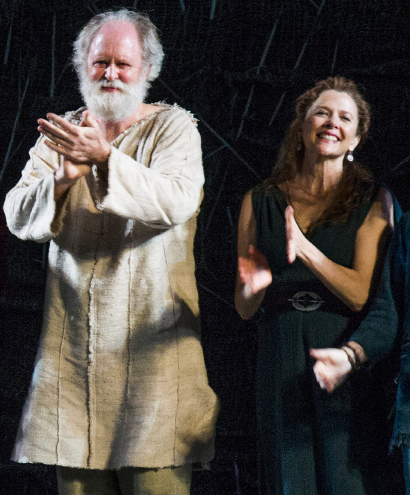 John Lithgow and Annette Bening take their curtain call on the opening night of King Lear at Shakespeare in the Park.