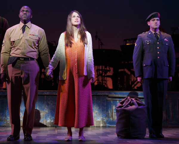 Joshua Henry, Sutton Foster, and Colin Donnell star in Brian Crawley and Jeanine Tesori's Violet, directed by Leigh Silverman, at the American Airlines Theatre.