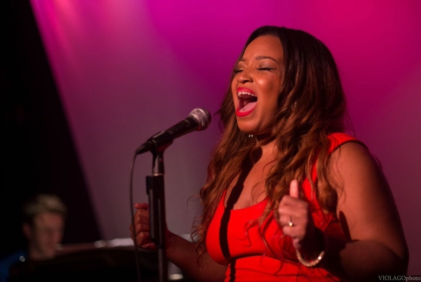 Aladdin cast member Marisha Wallace takes part in Broadway Sings for The Trevor Project at the Metropolitan Room.