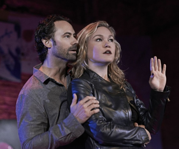 James Wirt as Bruce and Julia Stiles as Sue in Scott Organ's Phoenix, directed by Jennifer DeLia, at the Cherry Lane Theatre.