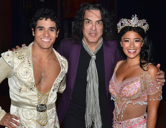 Kiss front man Paul Stanley (center) with Aladdin stars Adam Jacobs and Courtney Reed.