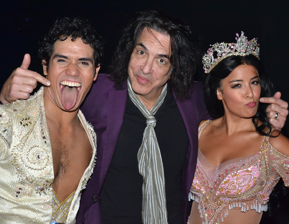 Aladdin stars Adam Jacobs and Courtney Reed show off their Kiss faces for Paul Stanley.