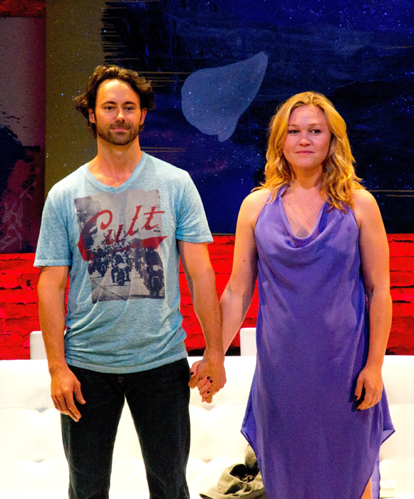 James Wirt and Julia Stiles take their opening night bow in Phoenix at the Cherry Lane Theatre.