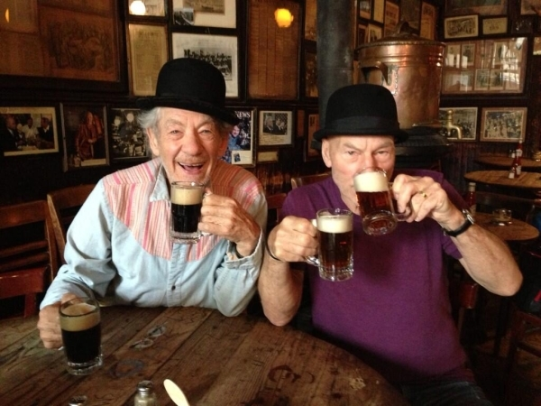 Sir Ian McKellen and Sir Patrick Stewart know a thing or two about performing Shakespeare (and living it up in a pub).