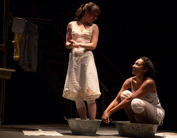 Samantha Soule as Dee and Rachel Nicks as Jamie in Naomi Wallace's And I And Silence, directed by Caitlin McLeod, at Signature Theatre.