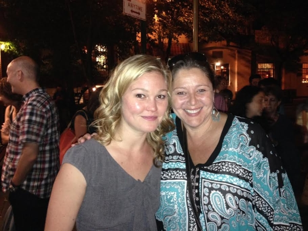 Julia Stiles and Camryn Manheim share a moment following a performance of Phoenix.