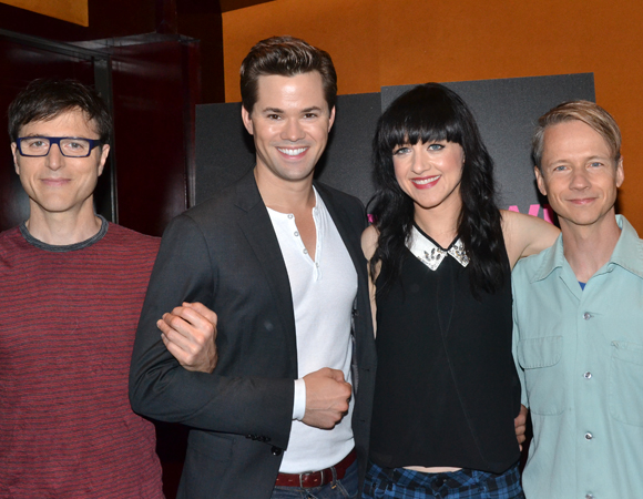 Hedwig cocreators Stephen Trask (left) and John Cameron Mitchell (right) pose with their stars, Andrew Rannells and Lena Hall.